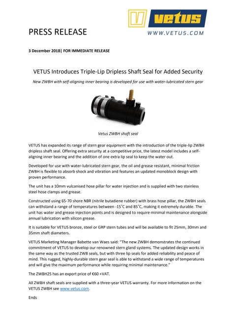 VETUS Introduces Triple-Lip Dripless Shaft Seal for Added Security