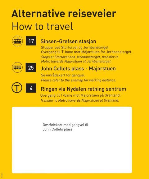 T-banens linjekart med reiseveier 28.mai - 01.juni 2014
