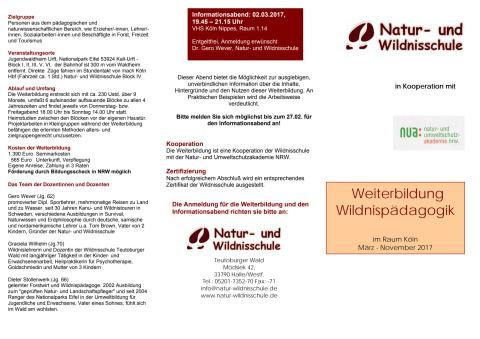 Weiterbildung Wildnispädagogik Rheinland 2017