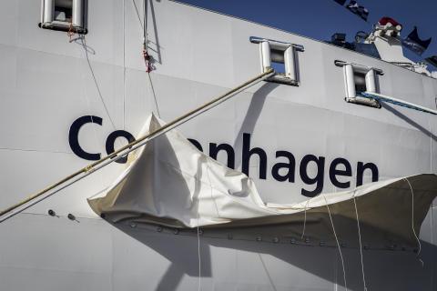 """Taufe der """"Copenhagen"""" am 28. Oktober 2016 in der Werft FAYARD auf Fünen"""