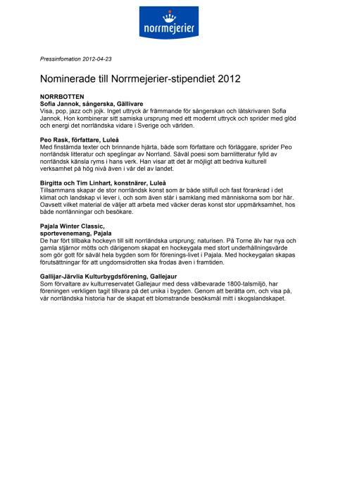 Nominerade till Norrmejerier-stipendiet 2012