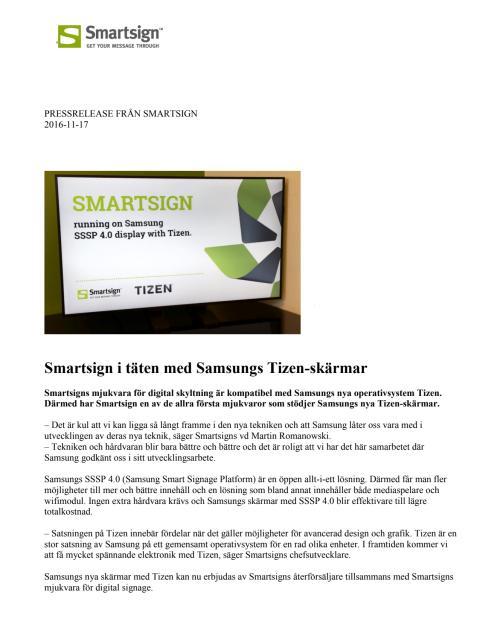 Smartsign i täten med Samsungs Tizen-skärmar