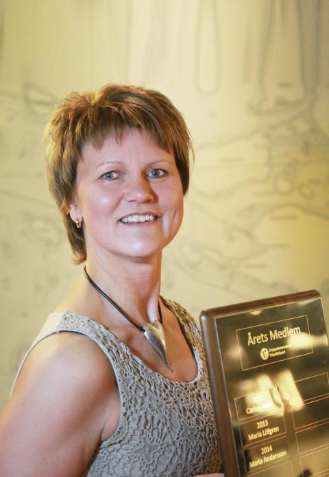 Maria Andersson blev Årets medlem i Kroppsterapeuternas Yrkesförbund 2014