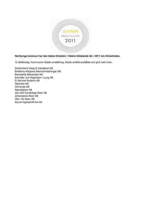 Företagen bakom Bästa Tillväxt 2011 i Herrljunga kommun.