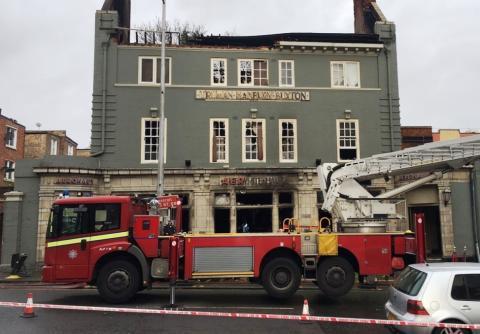 Scene of pub fire today