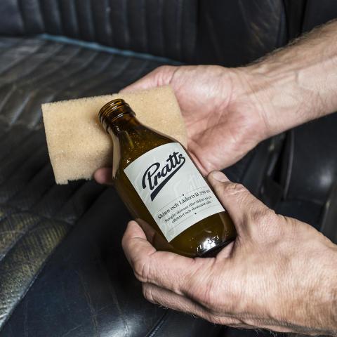 Pratts lädervård för rena och mjuka skinnsäten - hos Verktygsboden