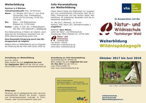 Weiterbildung Wildnispädagogik Teutoburger Wald 2017/18