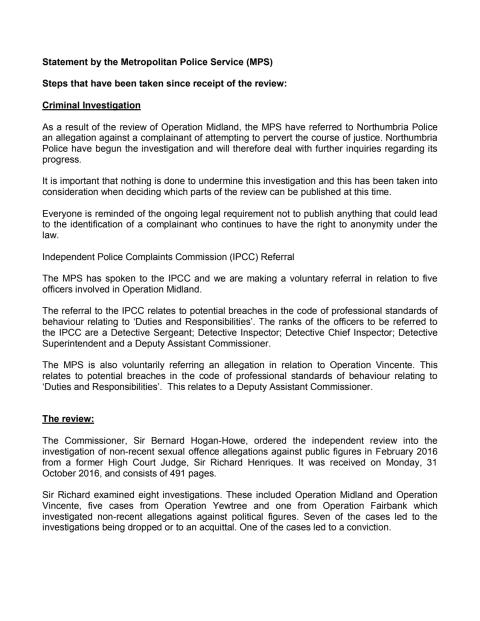 Statement by the Metropolitan Police Service