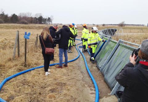 Vattenskydd testas i Skanör. Foto: Kalle Koinberg Henrikson