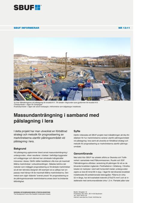 SBUF Informerar, nr. 12-11 Massundanträngning i samband med pålslagning i lera