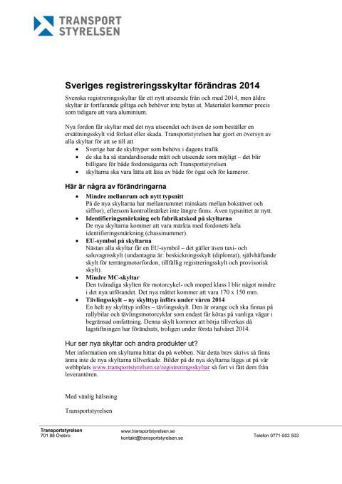 Nya registreringsskyltar 2014