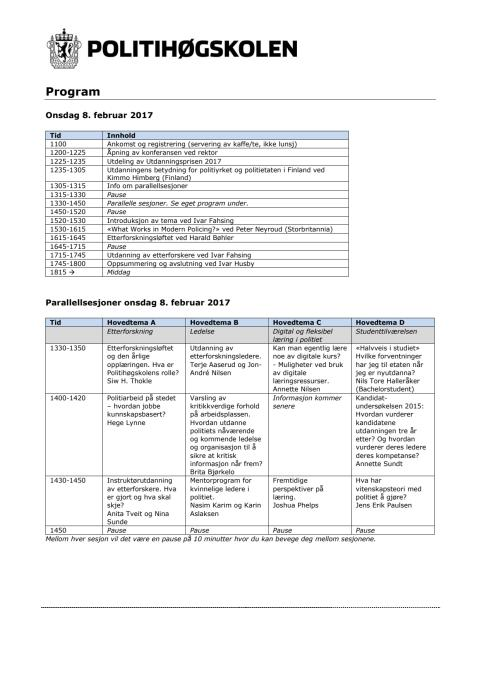 Program Utdanningskonferansen 2017