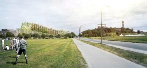 Vy mot öst och den föreslagna byggnaden. Lindarängsvägen till höger i bild liksom Borgen och Kaknästornet. Illustration: Bjarke Ingels Group.