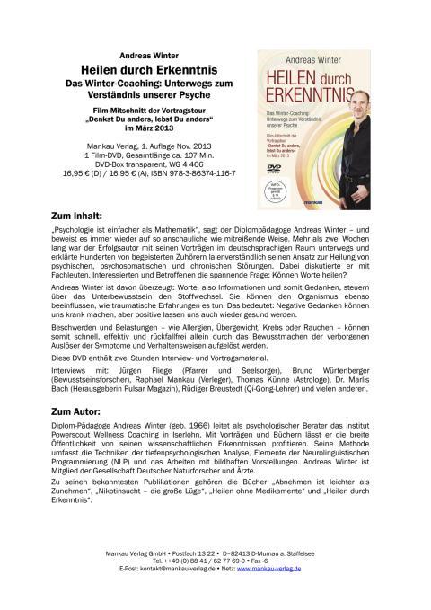 """Waschzettel """"Heilen durch Erkenntnis"""" (DVD)"""