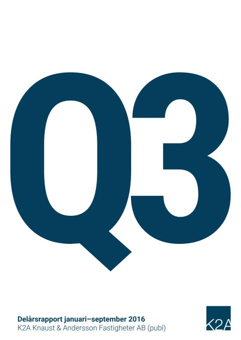K2A Delårsrapport Q3 2016