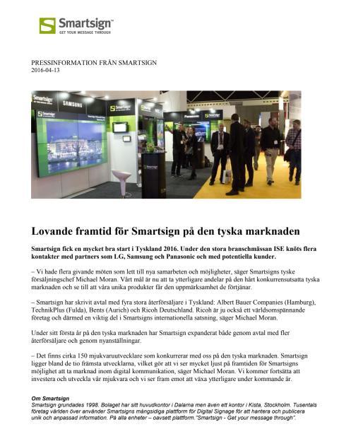 Lovande framtid för Smartsign på den tyska marknaden