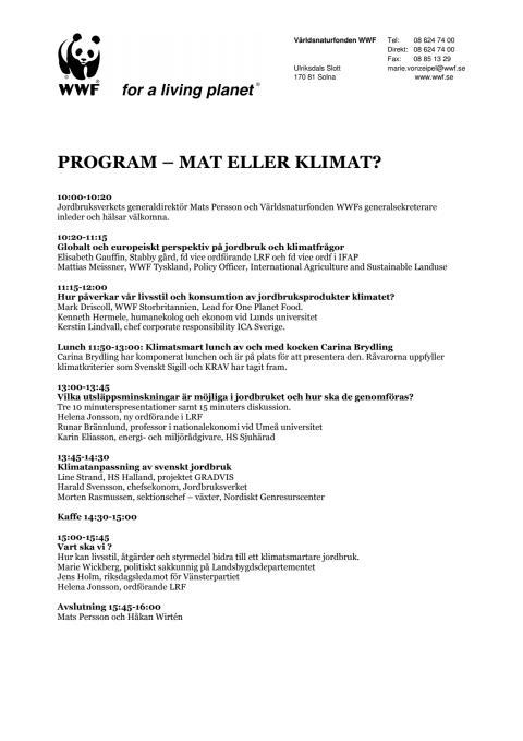 Pressinbjudan seminariet – Mat eller klimat?