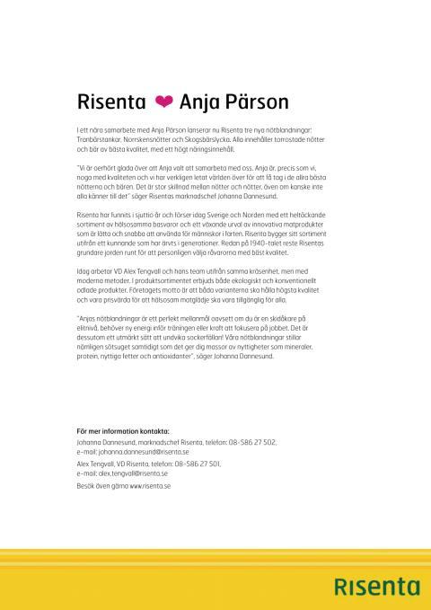 Anja Pärson i samarbete med Risenta