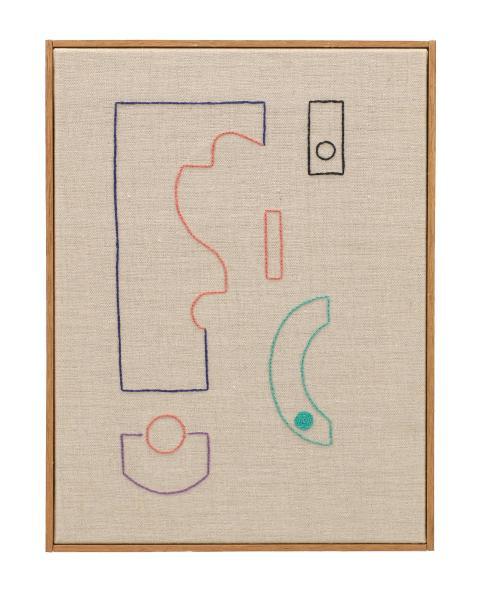 """Nadine Byrne """"Echoes"""" (21), broderi på linneduk, 30 x 40 cm, 2019."""