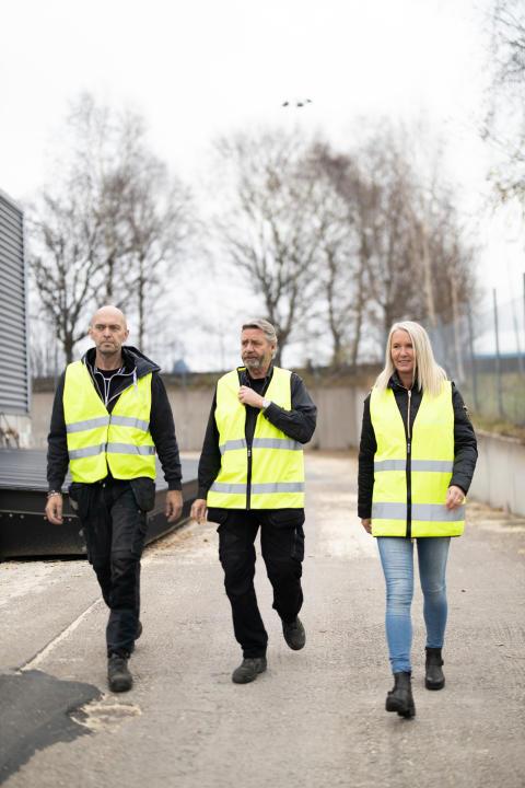 Claes Bohlin, Leif Johansson och Ann-Sofie Ståhl på Solör Bioenergi