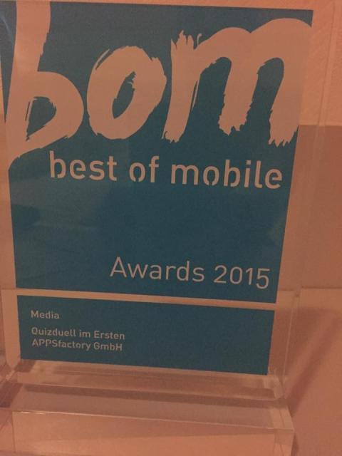 """Best of Mobile Award 2015 für """"Quizduell im Ersten"""" (Kategorie """"Media"""")"""