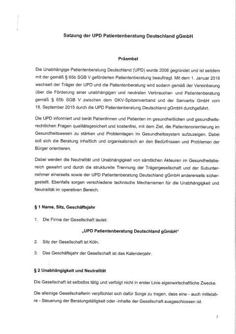 Satzung der Unabhängigen Patientenberatung Deutschland gGmbH