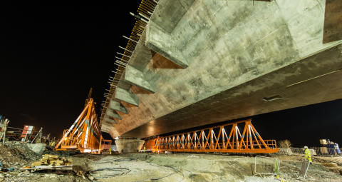 First deck span completed for Mersey Gateway's north approach viaduct