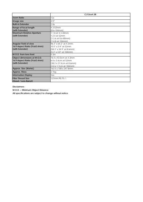 Canon Tekniska specifikationer CJ12ex4.3B