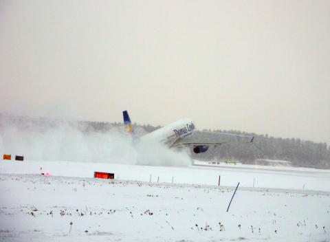 Take off in the snow