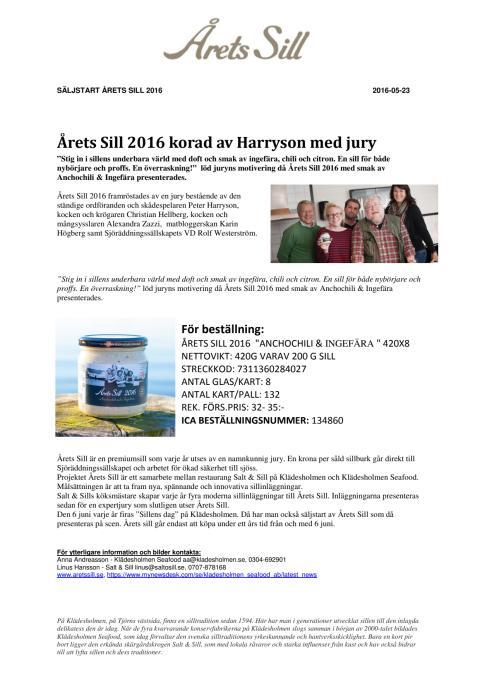 BESTÄLL HEM ÅRETS SILL 2016 till säljstart 6 juni