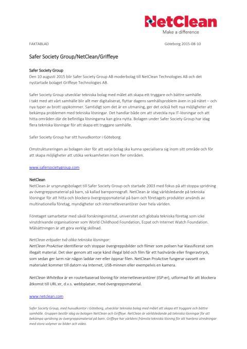 Faktablad för Safer Society Group, NetClean och Griffeye
