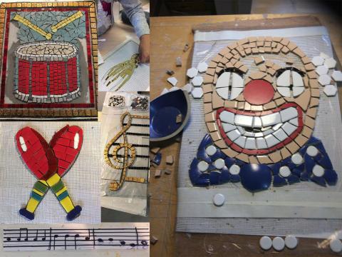 Skolbarn smyckar nya lekplatsen i Hjulsta med mosaik