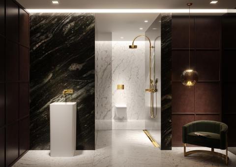 Trend No. 3: Gold - TECEsquare flush plate and the TECEdrainprofile shower channel