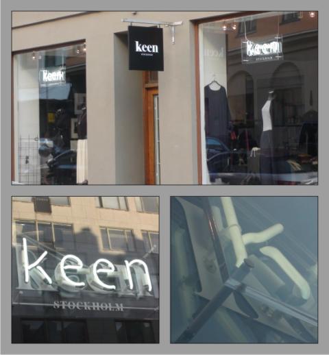 Neonskyltar interiört och dubbelsidig flaggskylt exteriört för Keen Sthlm