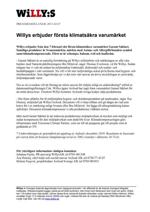 Willys erbjuder första klimatsäkra varumärket