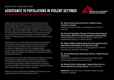 Assistance to populations in violent settings