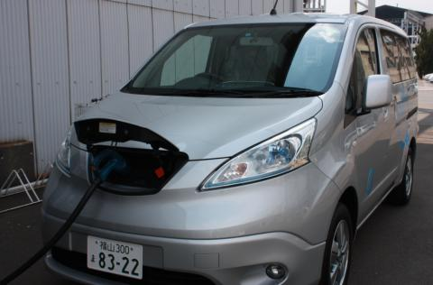 Electric vehicle (e-NV200) demonstrates in Tsuneishi Holdings Corporation.