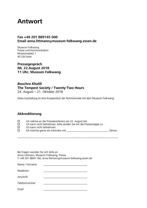 Antwortfax Museum Folkwang