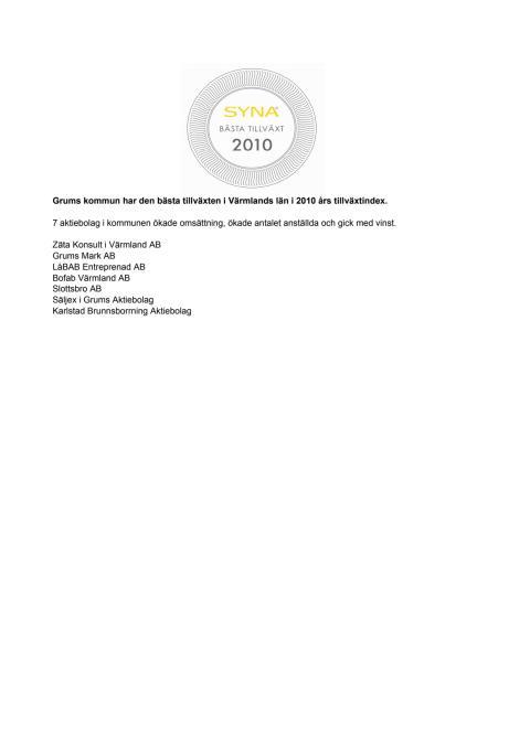 Företagen bakom Bästa Tillväxt 2010 i Grums kommun.