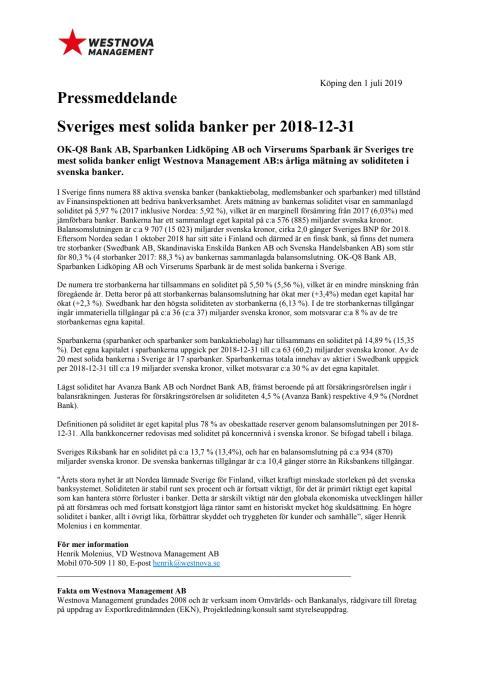 Pressmeddelande Westnova Management AB Soliditet i svenska banker 2018-12-31
