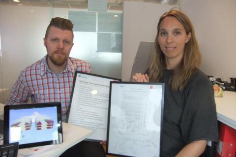 Projektledare Jenny Johansson och entreprenadingenjör Björn Randén