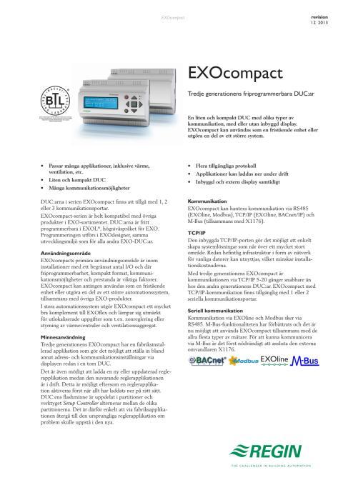 Produktblad för tredje generationens EXOcompact