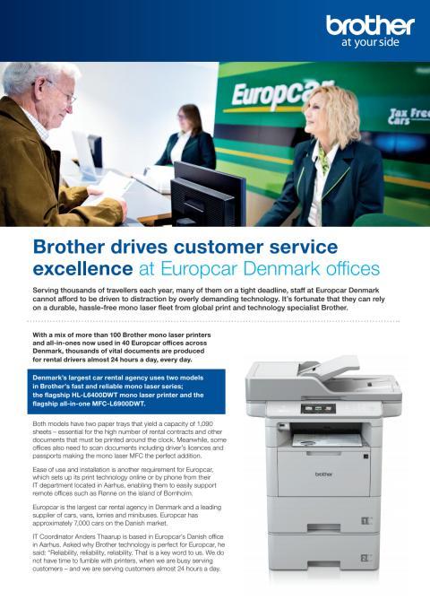 Brother is de motor achter de uitstekende service van Europcar Denemarken