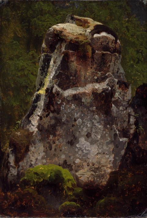 Eventyrrommet. August Cappelen, Mosegrodd kampestein, ant. 1851