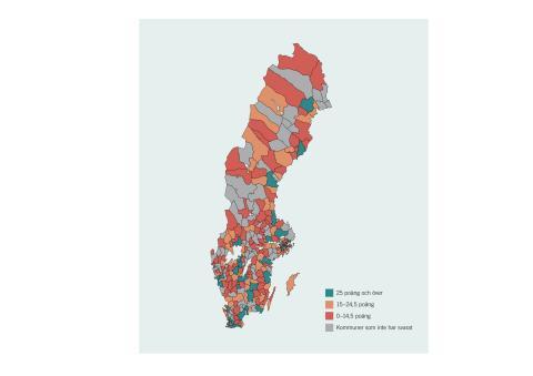Karta - kommunernas resultat i klimatanpassning 2019