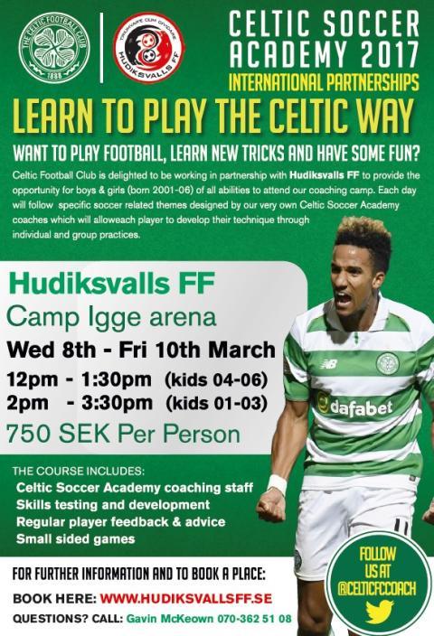 Celtic & HuFF Pre-season Academy 8-10 mars, Camp Igge Arena! För tjejer och killar födda 01-06.