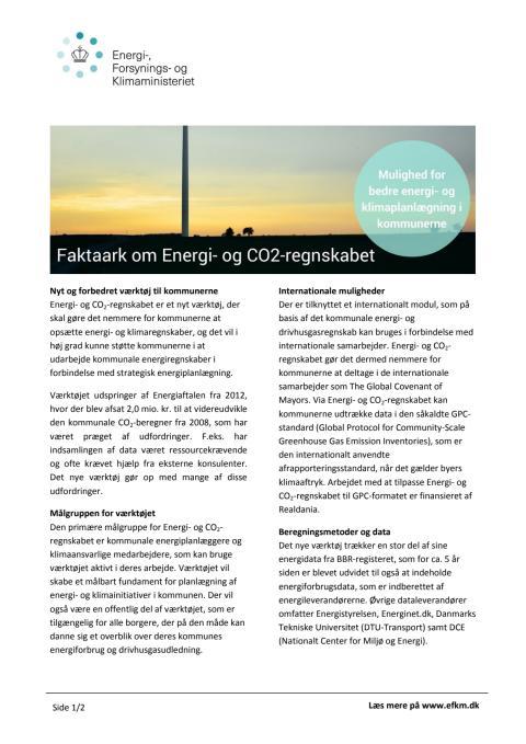 Faktaark om Energi- og CO2-regnskabet