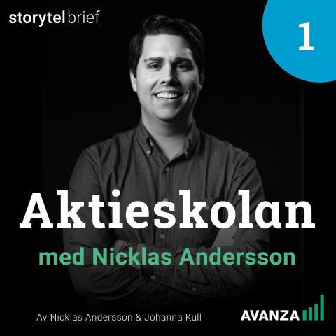 Omslag: Aktieskolan med Nicklas Andersson, av Nicklas Andersson & Johanna Kull.