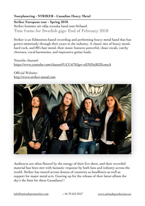 STRIKER (CA) - Canadian Heavy Metal - Dates available