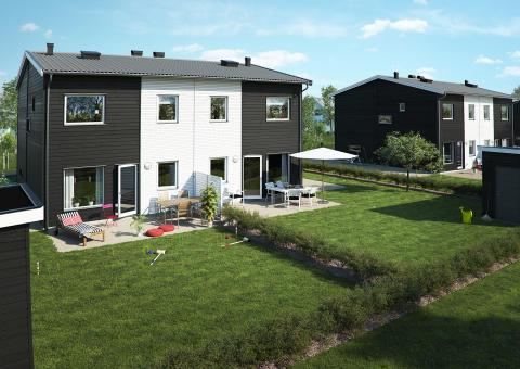 BoKlok Sandlyckan parhus trädgårdssida